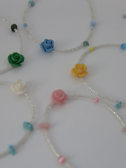RANIA ROSE BEADS BRACELET(IVORY, YELLOW, PINK, BLUE, GREEN 5COLORS!)