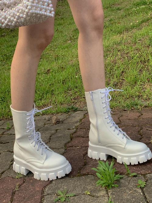 ARLETTE CHUNKY PLATFORM WALKER BOOTS(WHITE, BLACK 2COLORS!)