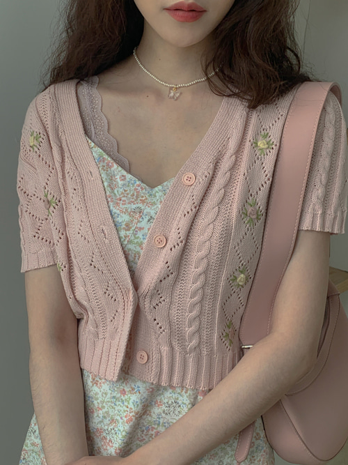 ZINNA FLOWER EMBROIDERY KNIT CARDIGAN(IVORY, PINK, SKYBLUE 3COLORS!)