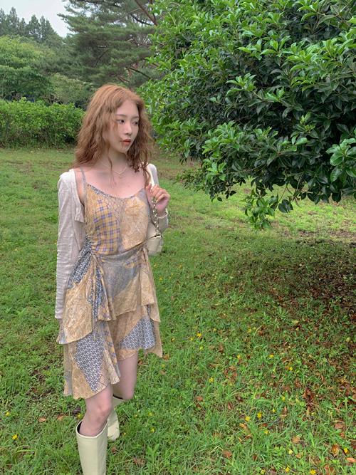 KELANI PAISLEY CHIFFON MINI FLARE DRESS(BEIGE, PURPLE 2COLORS!)