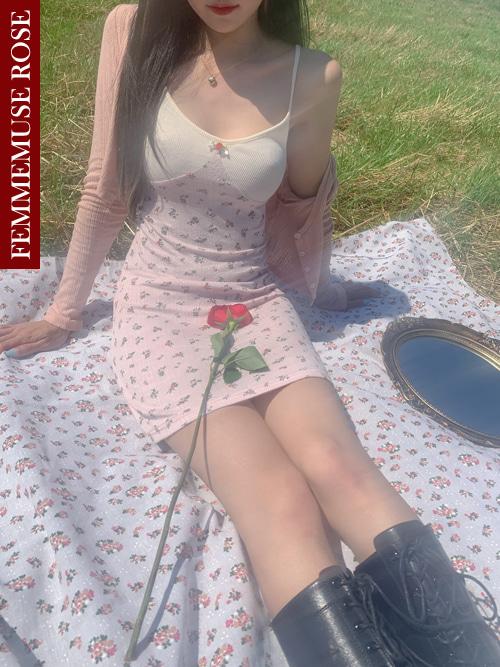 ❀FEMMEMUSE ROSE❀ ROSELY FLORET TWO-TONE MINI DRESS(CREAM PINK, LEMON SKYBLUE, MINT BEIGE 3COLORS!)