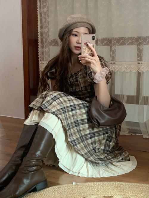 VINCHE CHECK CORSET DRESS