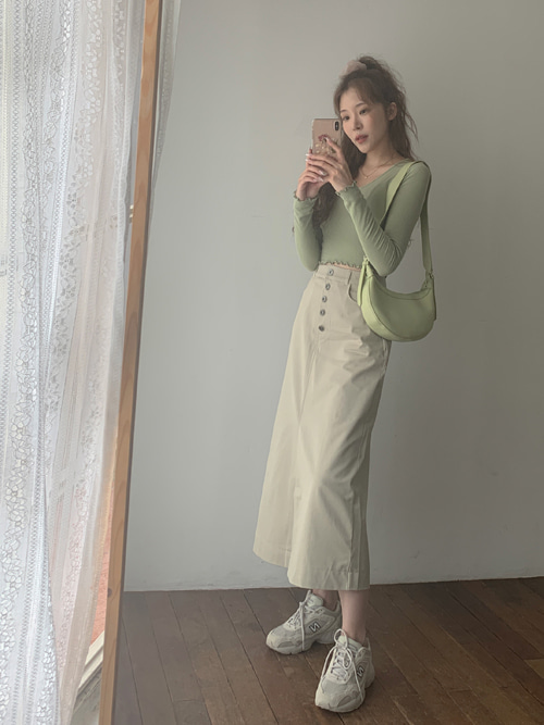 SOLID MAXI BUTTON SKIRT(BEIGE, GREEN, NAVY 3COLORS!)