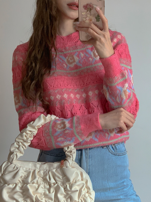 VINTAGE PATTERN MAPLE KNIT(YELLOW, LIGHT PINK, PINK, BLACK 4COLORS!)