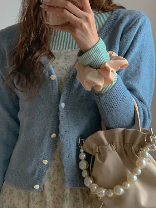 HEART BUTTON KNIT CARDIGAN(WHITE, IVORY, YELLOW, LIGHT PINK, PINK, BLUE, BROWN 7COLORS!)