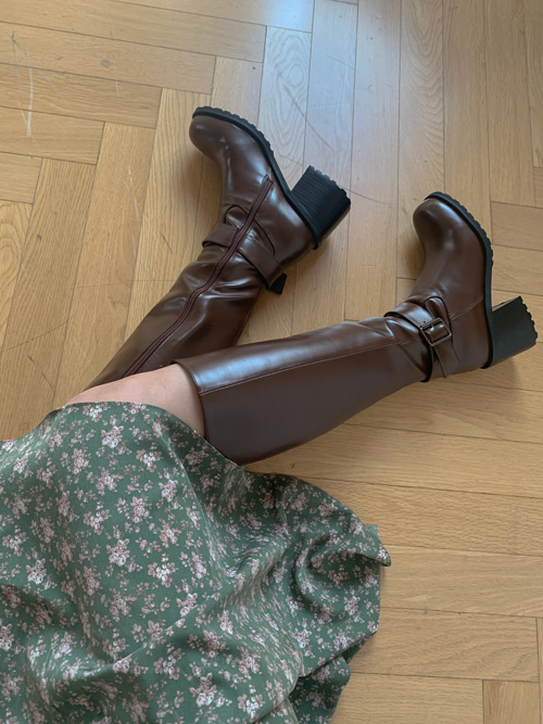 BUCKLE LEATHER LONG BOOTS(BROWN, BLACK 2COLORS!)