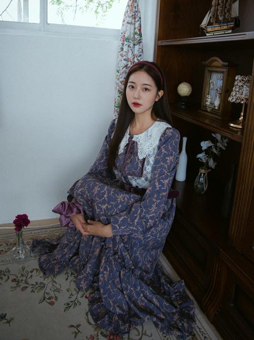 OLIVIA LACE COLLAR VELVET RIBBON DRESS WITH BELT(PURPLE)(*한정수량입고!*)