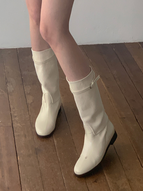 ROUND BUCKLE MIDDLE BOOTS(IVORY, BROWN, BLACK 3COLORS!)