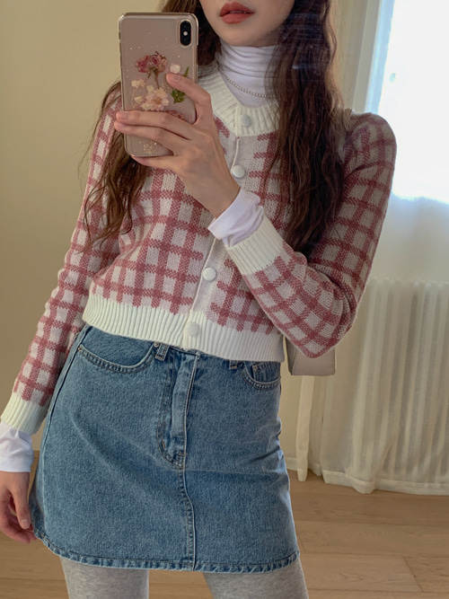 CHESS CHECK CARDIGAN(YELLOW, PINK, SKYBLUE, BLACK 4COLORS!)