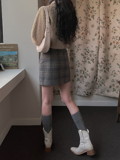 CASHMERE WOOL CHECK MINI SKIRT(BEIGE, NAVY 2COLORS!)