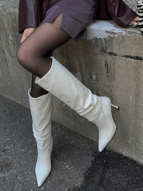 LUIVE SHIRRING LONG BOOTS(IVORY, BEIGE, BLACK 3COLORS!)