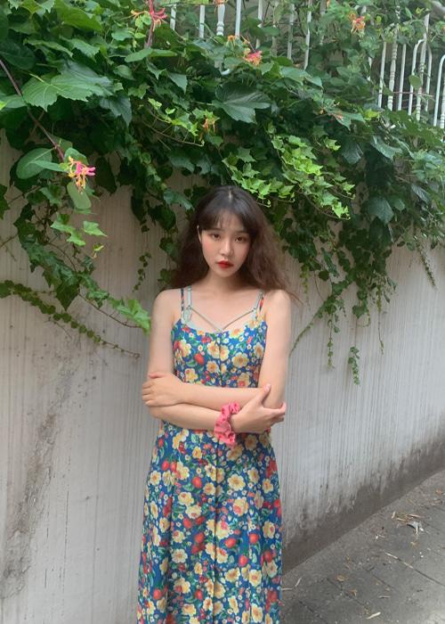 RETRO FLOWER BUTTON DRESS