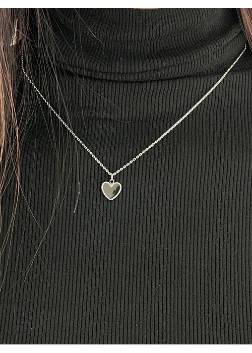 HEART SILVER NECKLACE(BLACK)