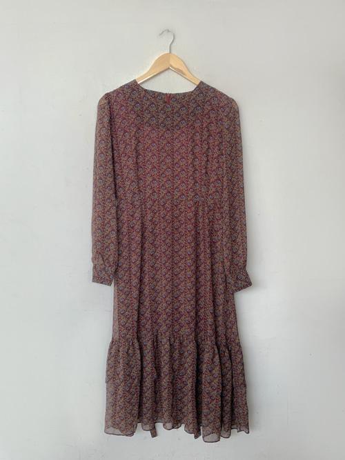 (VINTAGE)ANTIQUE CHIFFON RUFFLE DRESS