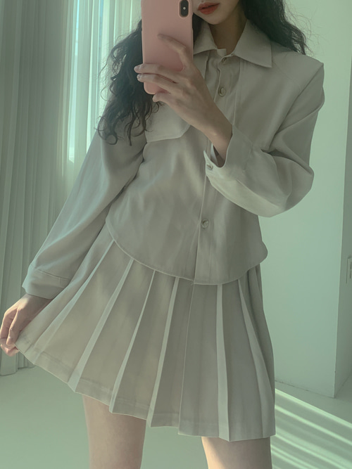 TRENCH SHIRTS BLOUSE SKIRT SET(CREAM, BROWN 2COLORS!)(*개별구매가능!*)