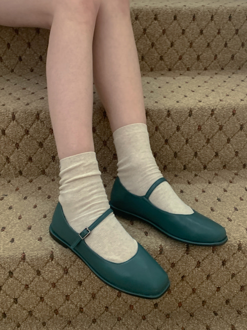 MARYJANE CLASSIC STRAP SHOES(WHITE, BLUISH GREEN, BROWN, BLACK 4COLORS!)