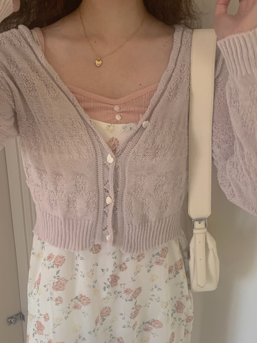 MIGNON HEART KNIT CARDIGAN(IVORY, BEIGE, PINK, SKYBLUE, GREEN, PURPLE 6COLORS!)