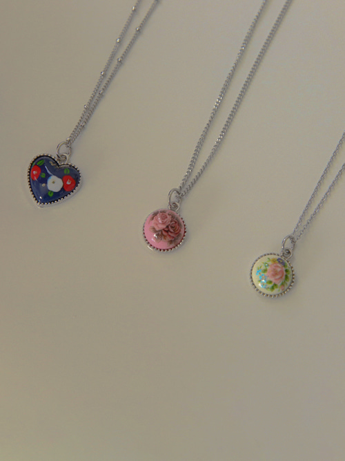 VINTAGE FLOWER NECKLACE(WHITE, PINK, NAVY 3COLORS!)