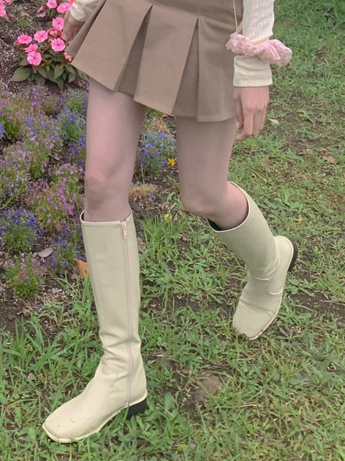 OCTAVIA SIMPLE ROUND BOOTS(IVORY, BROWN, BLACK 3COLORS!)