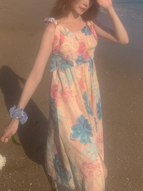 WATERCOLOR FLOWER TWIN RIBBON DRESS