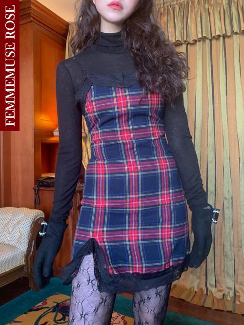 ❀FEMMEMUSE ROSE❀ CAROLINE TARTAN CHECK LACE SLIP DRESS(NAVY)
