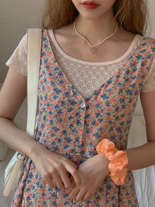 FLOWER LACE SEE THROUGH T(WHITE, BEIGE, BLACK 3COLORS!)