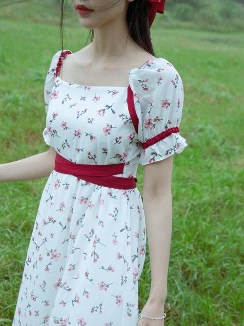 BENNY SQUARE NECK FRILL RED RIBBON DRESS