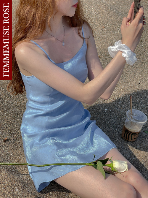 ❀FEMMEMUSE ROSE❀ ANGELA SATIN FLARE SLIP DRESS(SKYBLUE)