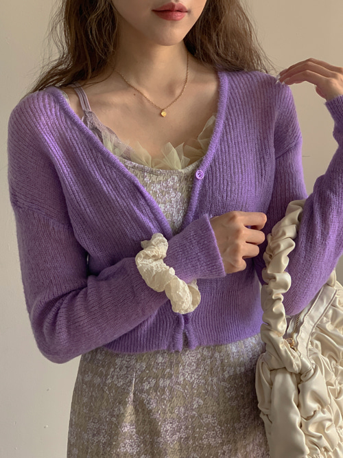 HIGHTEEN COLOR KNIT CARDIGAN(WHITE, PINK, PURPLE 3COLORS!)