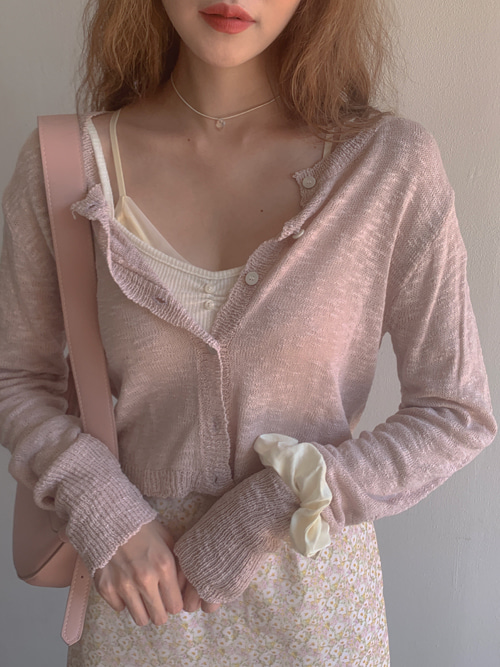 VERONICA TEXTURE CARDIGAN(IVORY, PINK, SKYBLUE, BLACK 4COLORS!)
