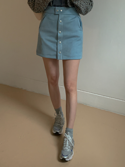 SUEDE BUTTON MINI SKIRT(PINK, SKYBLUE, BROWN, BLACK 4COLORS!)