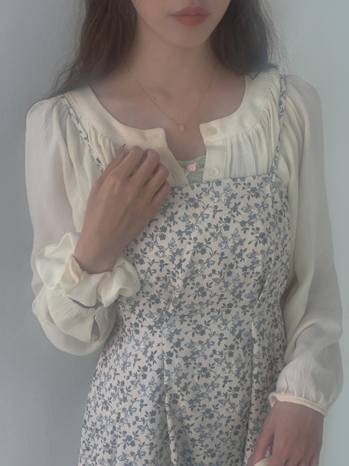 CINDY NO COLLAR SHIRRING BLOUSE(IVORY, BEIGE, BLACK 3COLORS!)