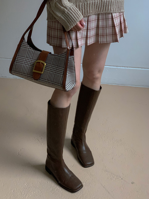 TOE LEATHER MIDDLE BOOTS(BEIGE, BROWN, BLACK 3COLORS!)