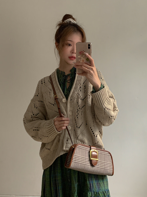 RORO PUNCHING LOOSE KNIT CARDIGAN(BEIGE, SKYBLUE, BROWN, BLACK 4COLORS!)