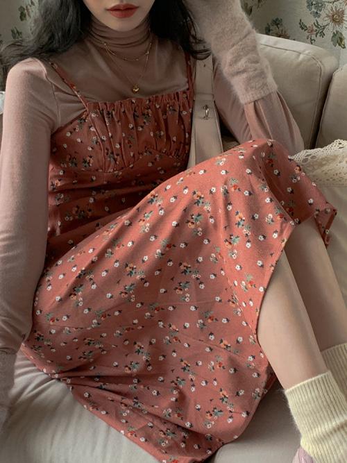 FLORANCE CORDUROY SLIP DRESS(PINK, KHAKI, BROWN 3COLORS!)