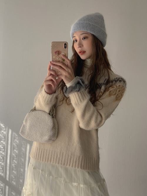 CASHMERE FLOWER WARM KNIT(IVORY, GREY, NAVY 3COLORS!)