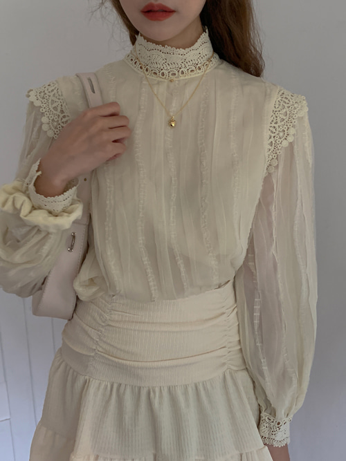 ANGEL HIGHNECK EMBROIDERY LACE BLOUSE(BEIGE, PINK, BLACK 3COLORS!)