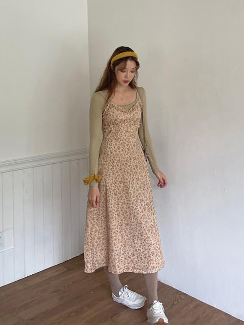 CORDUROY MELISSA FLOWER FRILL SLIP DRESS(IVORY, PINK, BROWN 3COLORS!)