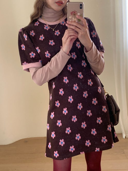 COSMOS PUFF DRESS(BURGUNDY, BROWN 2COLORS!)