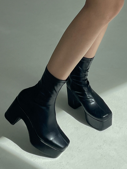CHUNKY HEEL BOOTS(BROWN, BLACK 2COLORS!)