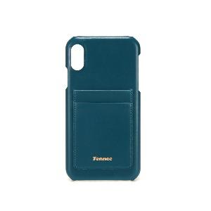 (SCRATCH SALE) LEATHER iPHONE XR CARD CASE - SEAGREEN