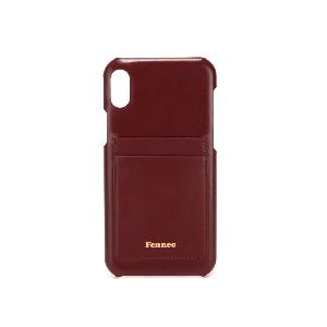 (SCRATCH SALE) LEATHER iPHONE XR CARD CASE - WINE