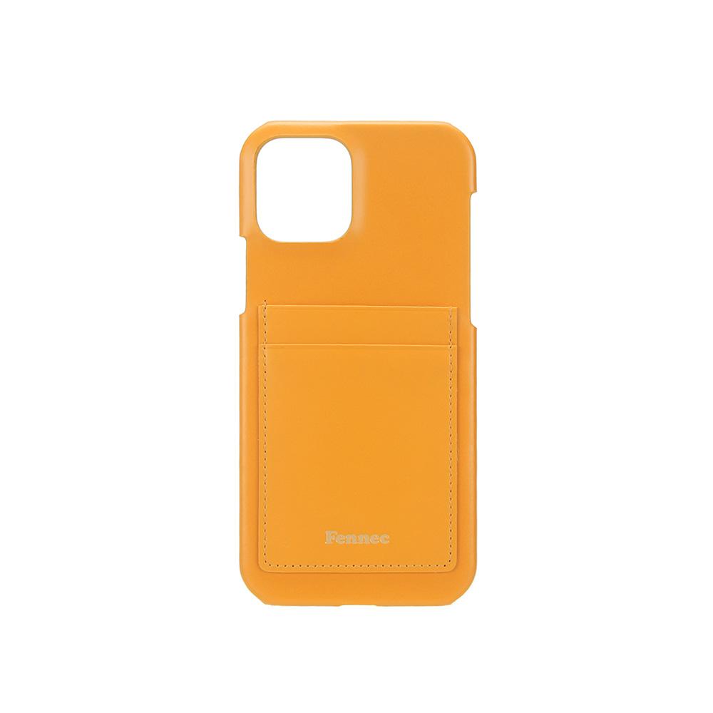 LEATHER IPHONE 12 / 12 PRO CARD CASE - MANDARIN