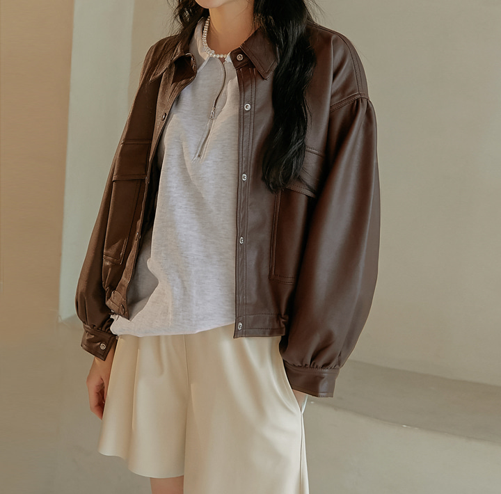 [OUTER] ROSH BALLOON STRING LEATHER JUMPER