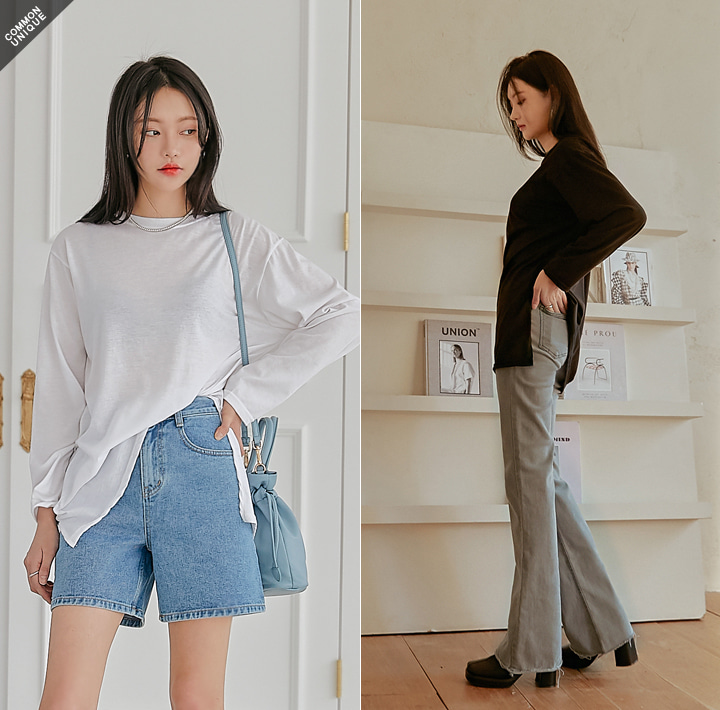 [TOP] DAILY SLIT COTTON LAYERED LONG T