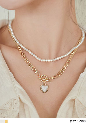 [JEWELRY] HEART PENDANT LAYERED NECKLACE