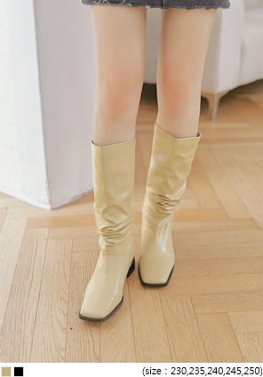 [SHOES] VEDY SQUARE SHIRRING BOOTS