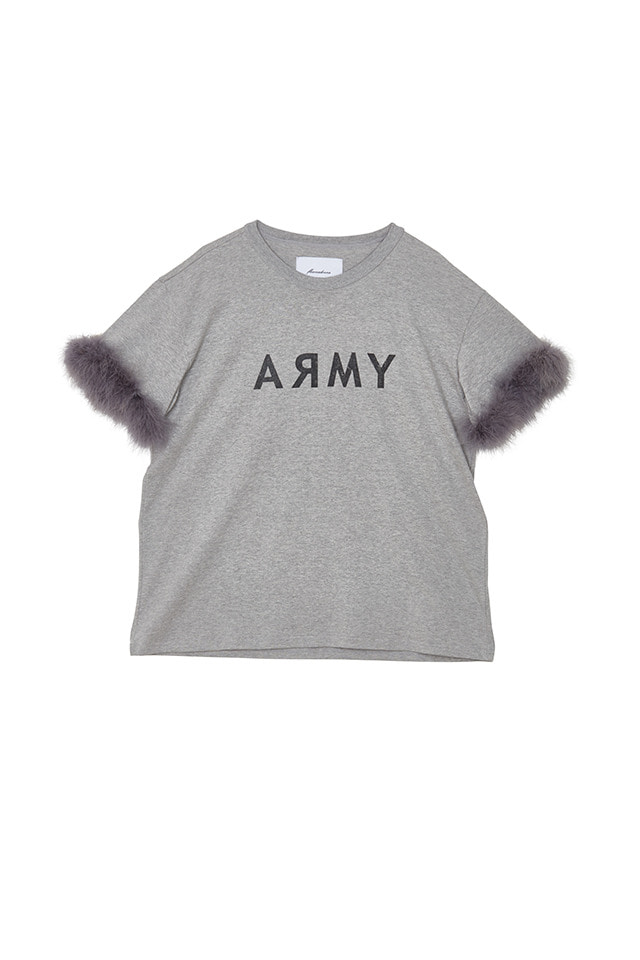 (SALE 70%) ARMY FEATHER T-SHIRT(GREY)