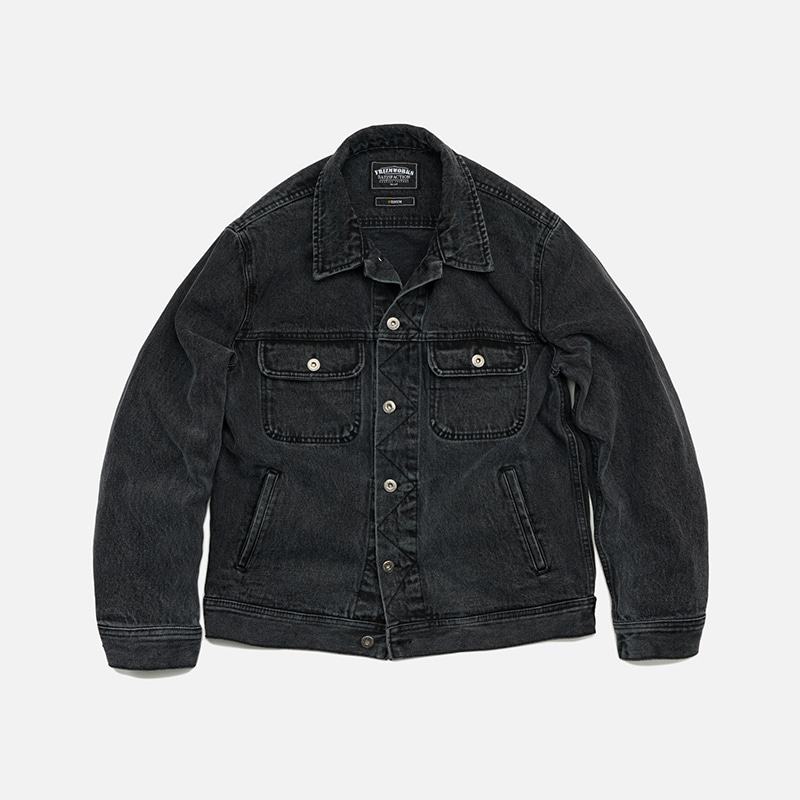 Washed denim trucker jacket _ washed black
