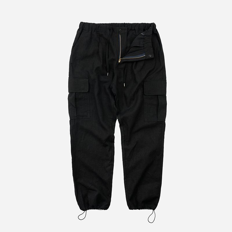 Linen cargo string pants _ black